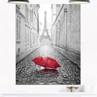 Eiffel View from Paris Street - Cityscape Photo Glossy Metal Wall Art