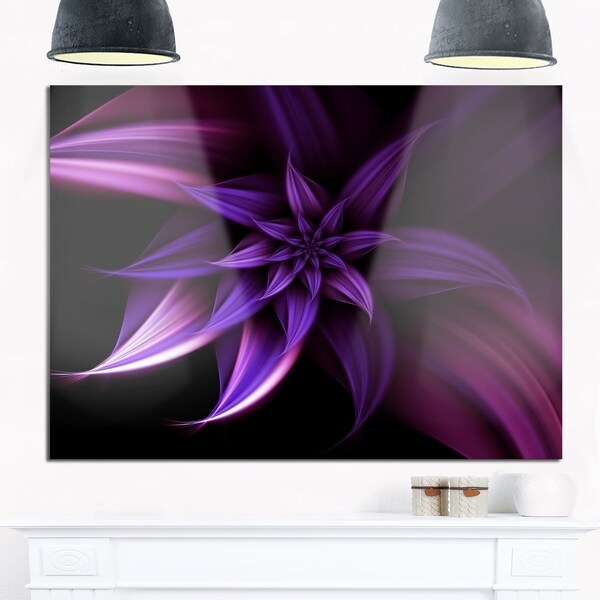 Fractal Flower Purple - Floral Digital Art Glossy Metal Wall Art ...