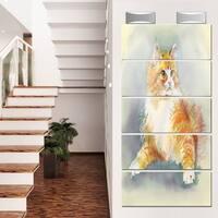 Designart 'Hand Drawn Watercolor Cat' Animal Glossy Metal Wall Art