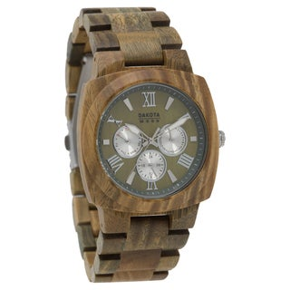 Dakota Mens Green Sandalwood Wood Watch with Link Band