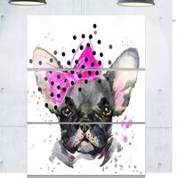 Designart 'Serious French Bulldog Watercolor' Animal Glossy Metal Wall Art