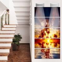 Designart 'Caribbean Sunset with Beautiful Sky' Large Seashore Glossy Metal Wall Art