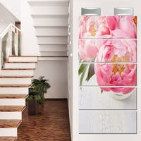 Designart 'Full Bloom Pink Peony Flowers' Floral Glossy Metal Wall Art