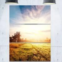 Designart 'Beautiful Green Pasture on Sunrise' Extra Large Landscape Glossy Metal Wall Art