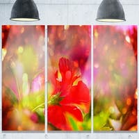 Designart 'Beautiful Red Rural Summer Flowers' Floral Glossy Metal Wall Art