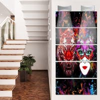 Designart 'Tiger and Woman Colorful Faces' Abstract Glossy Metal Wall Art