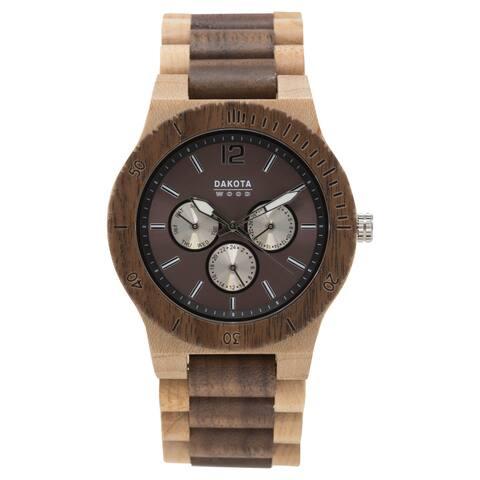 Dakota Mens Maple and Walnut Wood Watch with Link Band