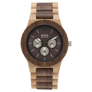 Dakota Mens Maple and Walnut Wood Watch with Link Band