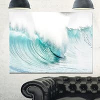 Massive Blue Waves Breaking Beach - Contemporary Seascape Glossy Metal Wall Art