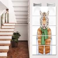 Designart 'Tiger in Vest and Sweater' Contemporary Animal Glossy Metal Wall Art