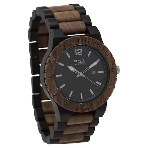 Dakota Mens Ebony and Walnut Wood Watch with Link Band