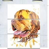 Designart 'Aggressive Brown Dog Watercolor' Animal Glossy Metal Wall Art