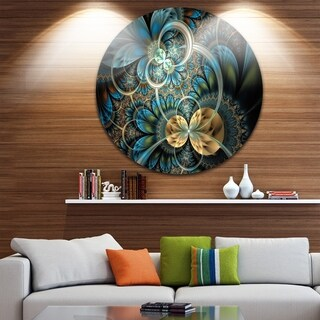 Designart 'Symmetrical Blue Gold Fractal Flower' Digital Art Circle Metal Wall Art