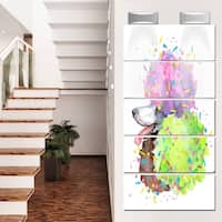 Designart 'Cute Brown Dog with Color Spheres' Contemporary Animal Glossy Metal Wall Art