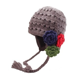 Crochet 3 Flower Earflap
