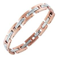 Mens Rose-plated Stainless Steel and 1/4 cttw Diamond Bracelet