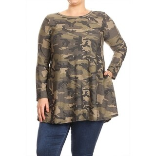 Women's Plus Size Army Camouflage Top