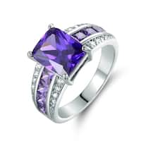 Rhodium Plated Purple Cubic Zirconia Ring