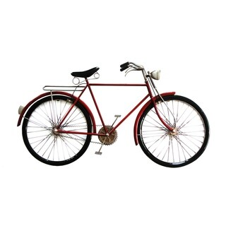 Aurelle Home Cruiser Red Iron Bike Wall Decor