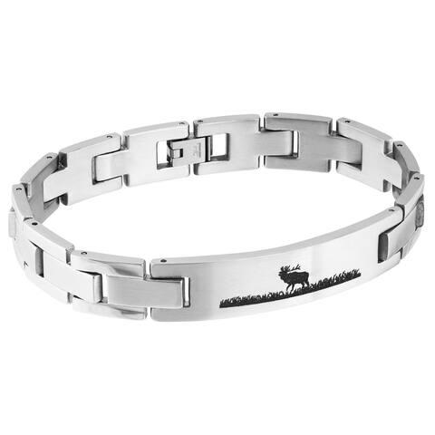 Mens Stainless Steel Elk Bracelet - Silver
