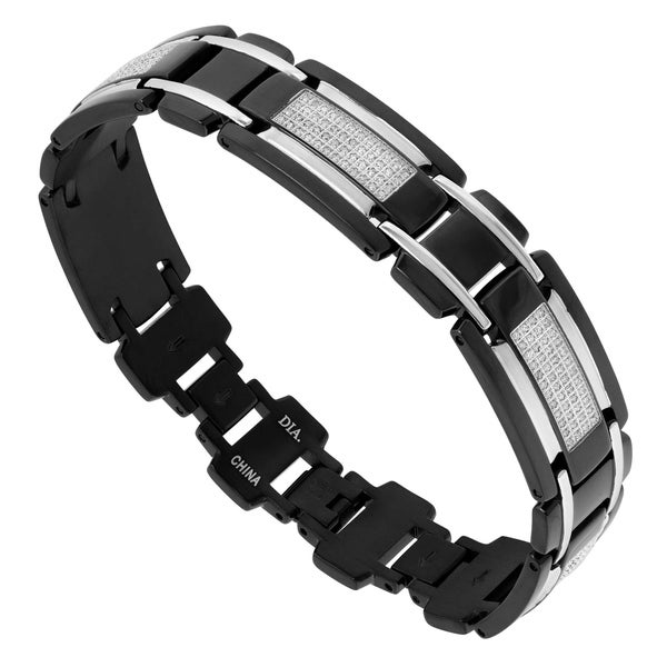 Shop Mens Black Stainless Steel And 1 Cttw Diamond