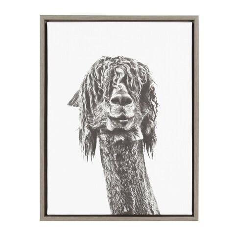 Kate and Laurel Sylvie Curly Hair Alpaca Portrait 18x24 Gray Framed Canvas Wall Art by Simon Te Tai