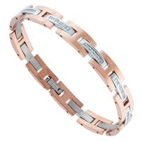 Mens Rose-plated Stainless Steel and 1/10 cttw Diamond Bracelet
