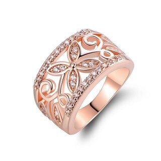 Rose Gold Plated Cubic Zirconia Flower Filigree Ring