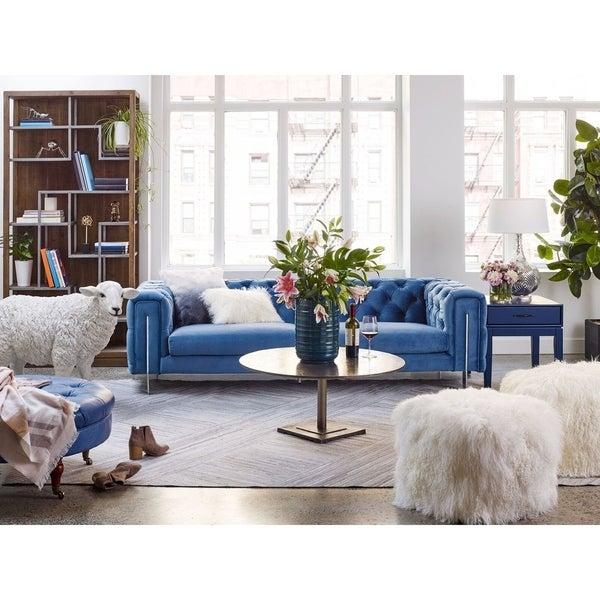 Beau Aurelle Home Modern Blue Velvet Chesterfield Sofa