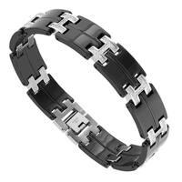 Mens Black Stainless Steel and 3/8 cttw Diamond Bracelet