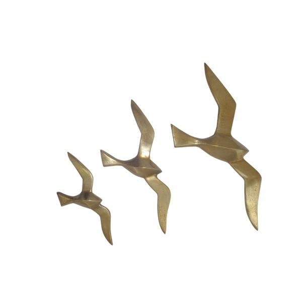 Aurelle Home Birds Gold Aluminum Wall Art (Set of 3)