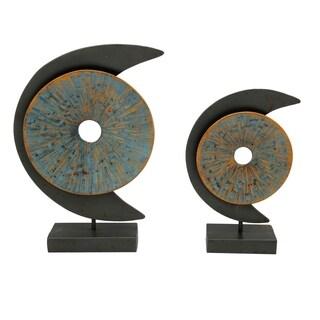 Aurelle Home Blue Moon Metal Wall Sculpture (Set of 2)