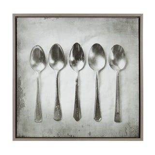 Sylvie Spoon Siblings 24x24 Gray Framed Canvas Wall Art by F2 Images