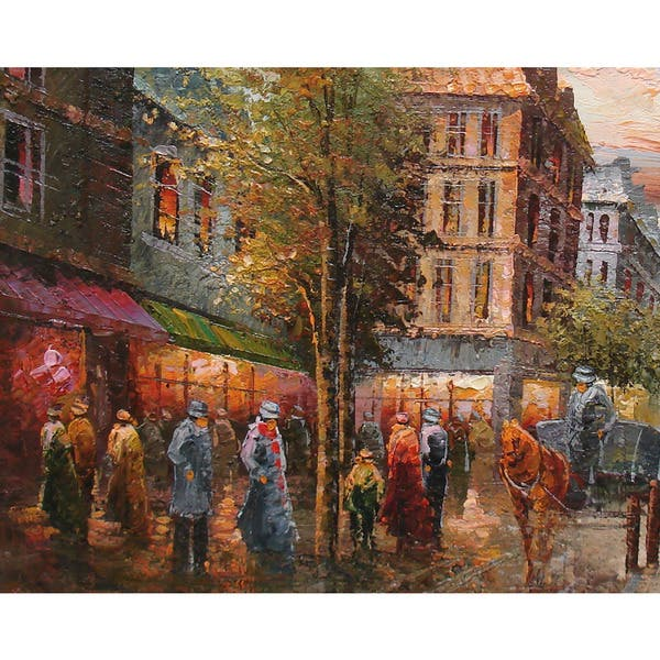 Shop Fine Oil Painting Of Cityscape People Walking In The