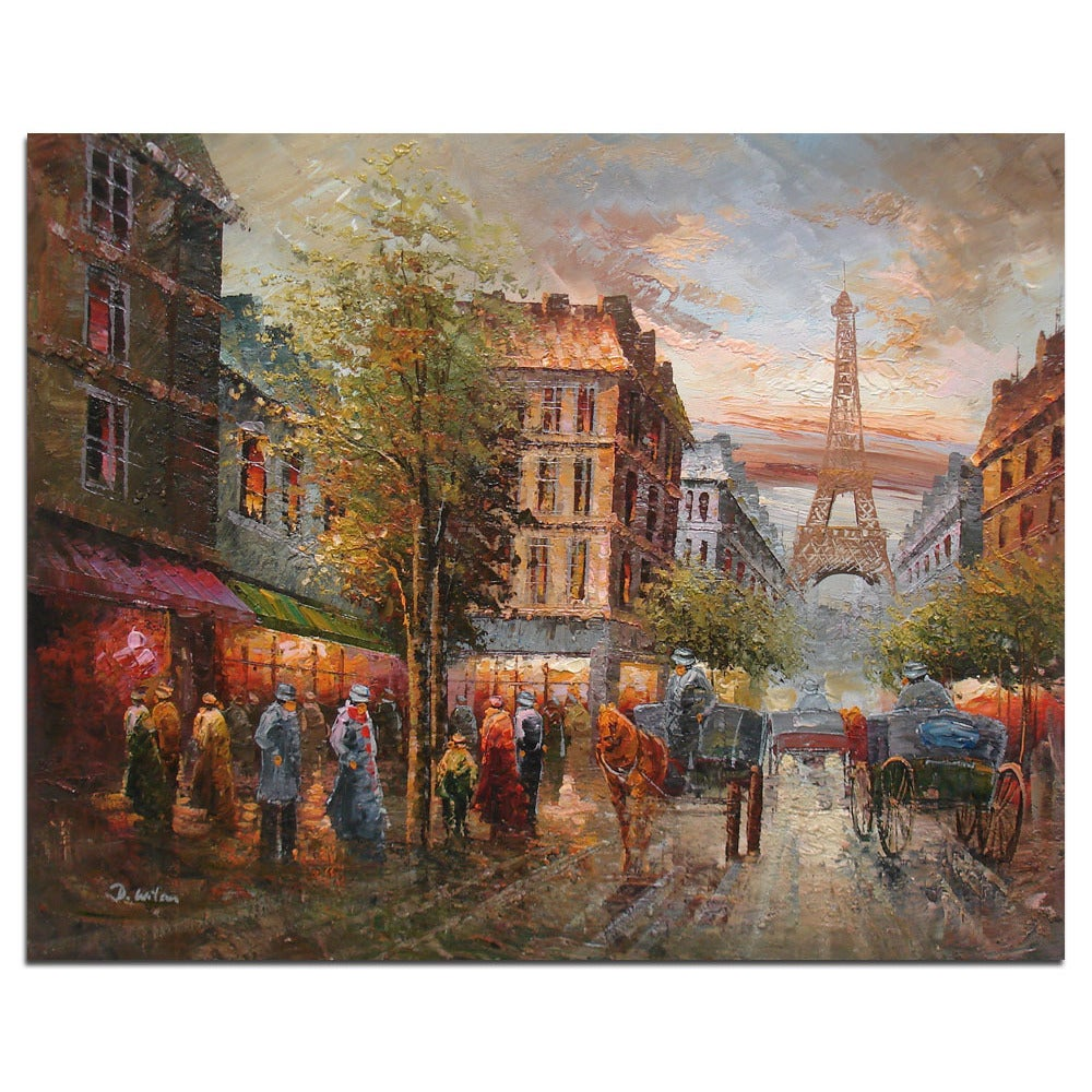 Fine Oil Painting Of Cityscape People Walking In The Street Near Eiffel Tower On Canvas 20 X24