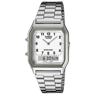 Casio Men's AQ-230A-7B 'Classic' Analog-Digital Stainless Steel Watch - White
