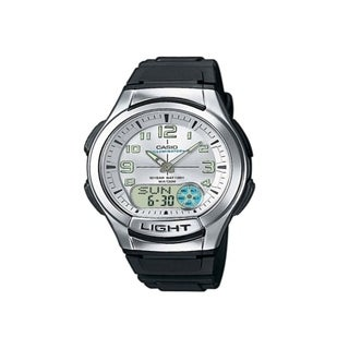 Casio Men's AQ-180W-7BV 'Ana-Digi' Analog-Digital Black Rubber Watch - Silver