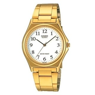Casio Men's MTP-1130N-7B 'Classic' Gold-Tone Stainless Steel Watch - White