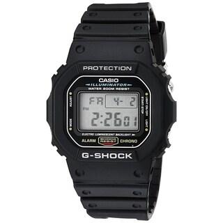 Casio Men's DW5600E-1 'G-Shock' Digital Black Resin Watch - CLEAR