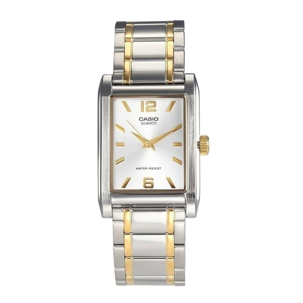 7d81df85c Shop Casio Men's MTP-1235SG-7A 'Quartz' Two-Tone Stainless Steel Watch -  White - Free Shipping Today - Overstock - 18753659