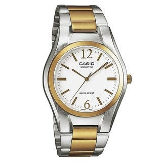 Casio Men's MTP-1253SG-7A 'Quartz' Two-Tone Stainless Steel Watch - White