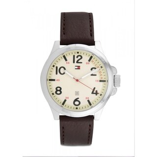 Tommy Hilfiger Men's 1790990 'Essentials' Brown Leather Watch - champagne