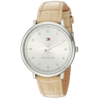 Tommy Hilfiger Women's 1781765 'Pippa' Beige Leather Watch - Silver