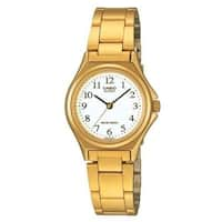 Casio Women's LTP-1130N-7B 'Casual' Gold-Tone Stainless Steel Watch - WHITE
