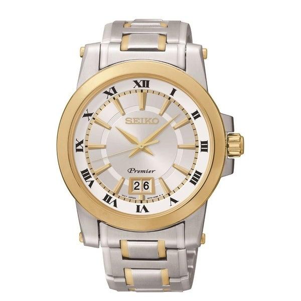 Seiko Men's 'Premier Perpetual Calendar Quartz ' Two-tone Stainless Steel Watch - Silver