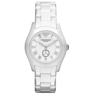 Emporio Armani Women's AR1405 'Ceramica' White Ceramic Watch - Silver