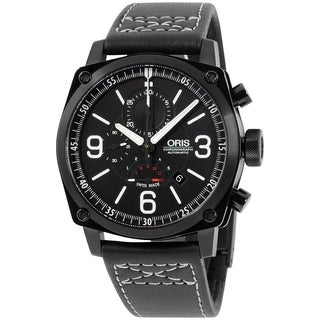 Oris Men's 67476334794LS 'BC4' Chronograph Automatic Black Leather Watch