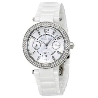 Michael Kors Women's MK6435 'Mini Parker' Multi-Function Crystal White Ceramic Watch - Mother of Pearl