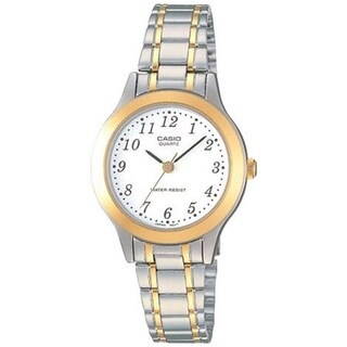 Casio Women's LTP-1128G-7B 'Classic' Two-Tone Stainless Steel Watch - White
