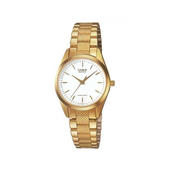 ef38f8e18 Shop Casio Women's LTP-1274G-7A 'Classic' Gold-Tone Stainless Steel Watch -  White - Free Shipping Today - Overstock - 18753765